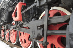 Red train wheels. Red wheels of a steam engine train Royalty Free Stock Photography