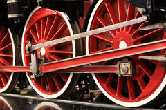 Red train wheels Stock Photo