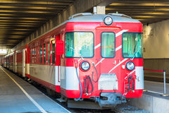 Red train at the Zermatt train station. Switzerland royalty free stock images