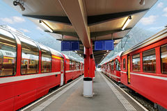 Red trains. Royalty Free Stock Images