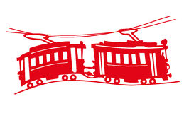 Red tram Stock Image