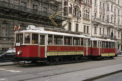 Red Tram. Tram in Prague, Czech Republique royalty free stock photography