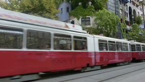 A red tram stock video footage