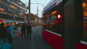 Red tram in Bern in 4k UHD stock video footage
