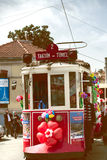 Red tram on  Beyoglu Istiklal Street Taksim Royalty Free Stock Images