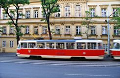 Red tram  blurred in motion in the City of  Prague Royalty Free Stock Photography