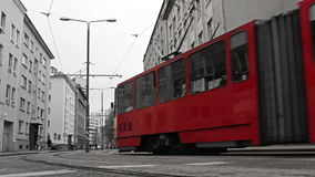 Red tram in the bw city. Red tram passing the central street of the bw city Shot on Canon 5D Mark II with Prime L Lenses stock video