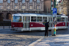 Red tram circulating in prague Stock Photo