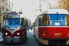 Red tram circulating in prague. Two red tram circulating in prague Royalty Free Stock Photos