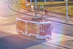 Red tram in Eastern Europe. For any purpose Stock Image