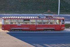 Red tram in Eastern Europe. For any purpose Royalty Free Stock Photos