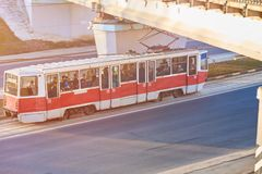 Red tram in Eastern Europe. For any purpose Stock Photography