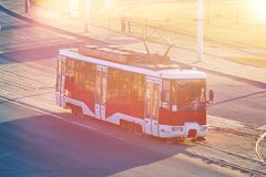 Red tram in Eastern Europe. For any purpose Royalty Free Stock Photo