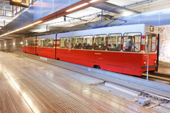 Red Tram at Grote Mark Station Stock Photo