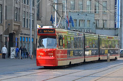 Red tram in Hague. Royalty Free Stock Photo