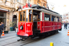 Red Tram in Istanbul Stock Image