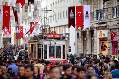 Red Tram in Istanbul, Turkey. Stock Photos