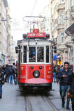 Red Tram on Istiklal Street, Istanbul Royalty Free Stock Image