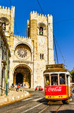 Red Tram and the Lisbon Cathedral Stock Photography