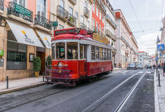 Red tram of Lisbon Stock Photography