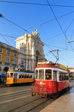 Red tram Lisbon Royalty Free Stock Photo