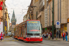 Red tram near Jindrisska Tower in Prague, Czech Royalty Free Stock Photography