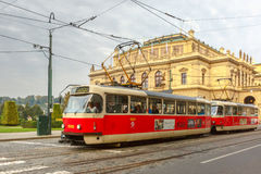 Red tram near National Theatre in Prague, Czech Royalty Free Stock Images