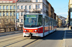 Red tram public transportation in Prague Royalty Free Stock Photo