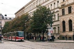 Red tram in Prague Stock Photos