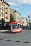 Red tram rides on Sadovaya street Stock Photo