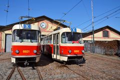 Red tram Tatra T3, the worlds most widespread tramcar type. Red tram Tatra T3 in Prague, Czech Republic, the worlds most widespread tramcar type Royalty Free Stock Image