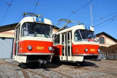 Red tram Tatra T3, the worlds most widespread tramcar type. Red tram Tatra T3 in Prague, Czech Republic, the worlds most widespread tramcar type Stock Images