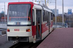 Red tram Stock Images