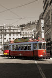 Red Trams circulating in Lisbon, Portugal Royalty Free Stock Photos