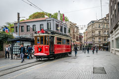 Red tramway on the Istiklal street in Istanbul, Turkey Stock Images