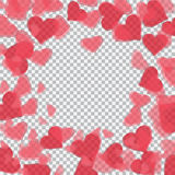Red translucent hearts arranged in a circle. Checker background for drawings in honor of Valentine`s Day. illustration. Red translucent hearts arranged in a Stock Images