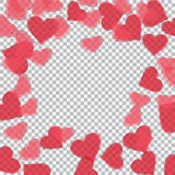 Red translucent hearts arranged in a circle. Checker background. Valentine`s Day. illustration. Red translucent hearts arranged in a circle. Checker background royalty free illustration