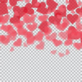Red translucent hearts. Checker background for drawings in honor of Valentine`s Day. illustration. Red translucent hearts. Checker background for drawings in Royalty Free Stock Photography