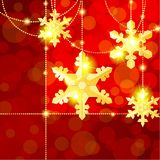 Red transparent banner with snowflake ornaments Stock Photography