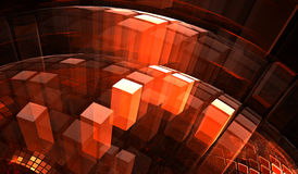 Red transparent blocks with illusion of depth and perspective Stock Image