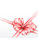 Red transparent bow isolated on white Royalty Free Stock Photos