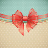 Red transparent bow on vintage background Royalty Free Stock Image