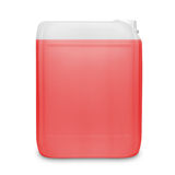 Red transparent cleaning supply product container isolated on white Royalty Free Stock Images
