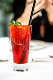 Red transparent cocktail with berries Stock Photography