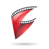 Red Transparent Film Reel Icon Stock Images
