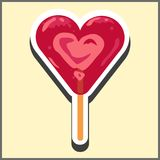 Red transparent ice cream in the shape of a heart on a stick. Illustration in the form of a sticker. Stock Photo