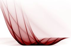 Red transparent wave on white background. Abstract Royalty Free Stock Photo