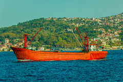 Red transport ship Stock Photo