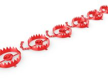 Red traps isolated on white. Stock Image