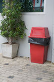 Red trash box Royalty Free Stock Images